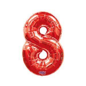 Фольгированный шар «Цифра 8» красная