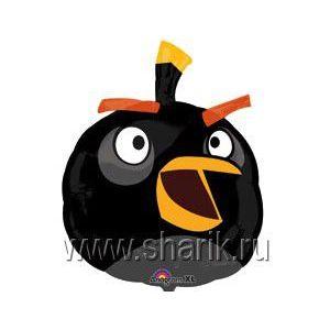 Фольгированный шар «Angry Birds» (черная птичка)