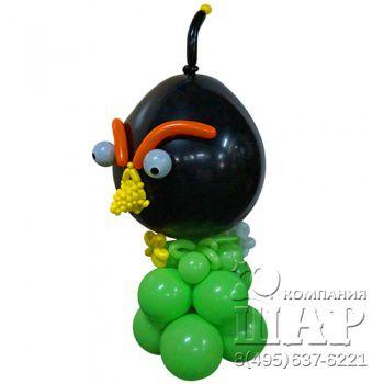 """Композиция из шаров """"Angry Birds - черная"""""""