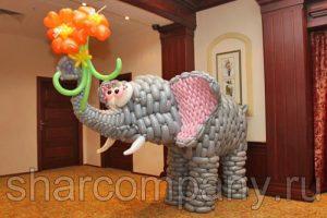 Слоны из воздушных шаров в подарок
