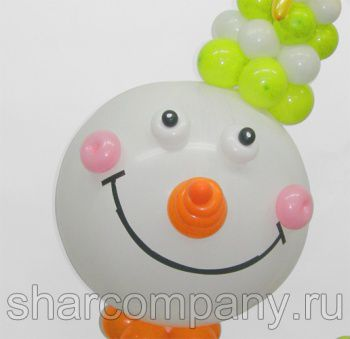 веселый снеговик из шаров