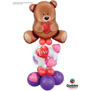 Стойка из шаров «Влюбленный медведь»