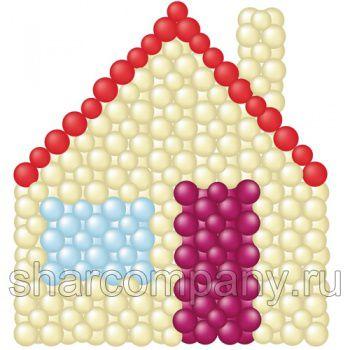 панно домик из шариков