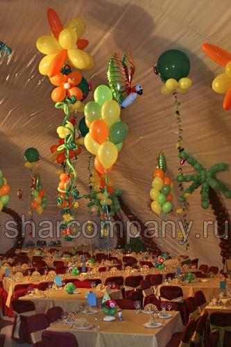 оформление праздника в тропическом стиле