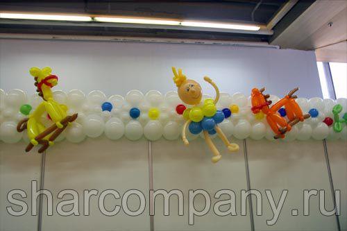 Оформление шарами детской выставки