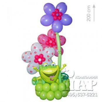 Фигура из шаров «Клумба с лягушкой»