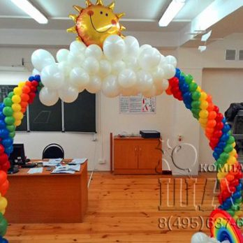арка в виде радуги из шариков