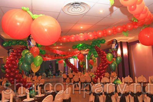 оформление шарами в тропическом стиле