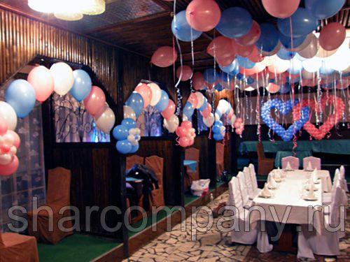 Украшение свадебного зала розово — голубого цвета