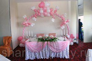 Бело-розовое оформление свадьбы