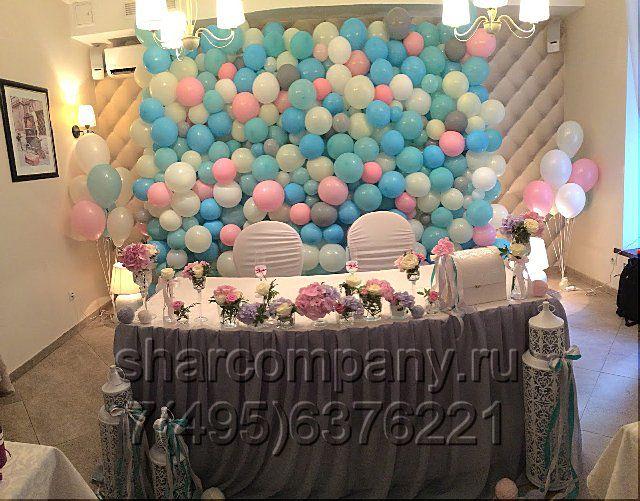 Стена из шариков на свадьбу