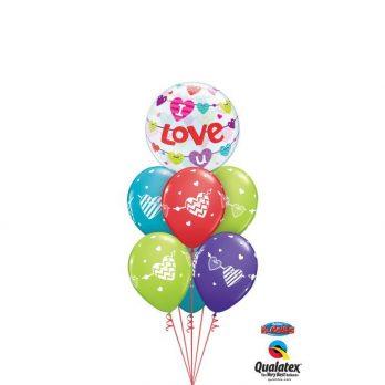 Букет воздушных шаров «Любовная валентинка»