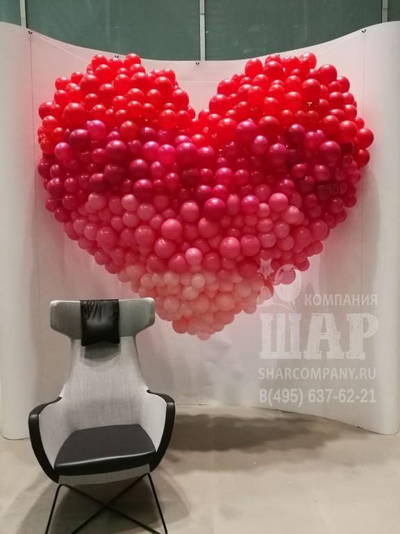 Огромное сердце из шаров