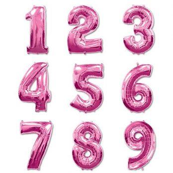 Фольгированная цифра ярко розовая