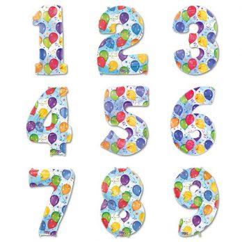 Фольгированная цифра разноцветная
