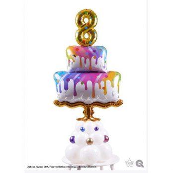 Композиция из шаров «Желаю вкусного дня рождения!!!»