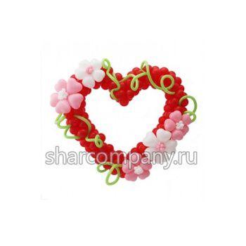 фигура из шаров сердце с цветами