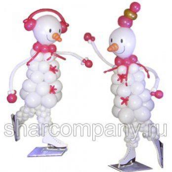 Фигура из шаров «Снеговики фигуристы»