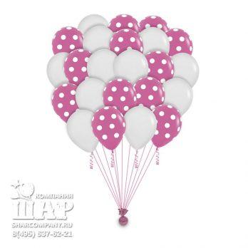 Гелиевые шары «Веселый горошек — розовый» — 100 шаров