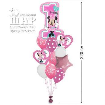 Букет из шаров «Минни — 1-й День рождения»