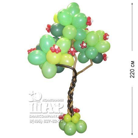 """Фигура из шаров """"Дерево с цветами"""""""
