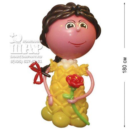 """Фигура из шаров """"Девушка в желтом платье"""""""