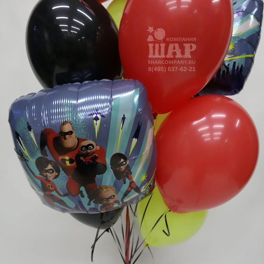 """Букет из шаров """"Суперсемейка поздравляет"""""""