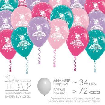 Гелиевые шары «С днем рождения, Единорог»